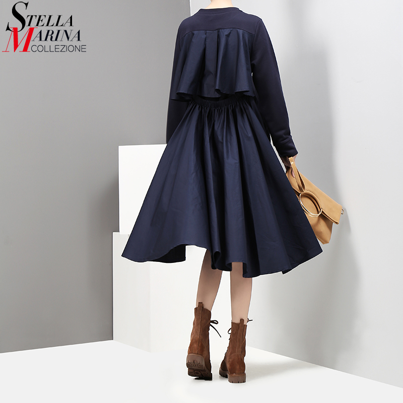 2017 New Autumn Women Navy Midi Straight Dress O Neck Long Sleeved Back Pleated Ladies Casual