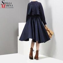 새로운 2019 가을 패션 여성 해군 세련된 미디 드레스 라인 오 넥 긴 소매 다시 Pleated 레이디 캐주얼 드레스 가운 Femme 2917