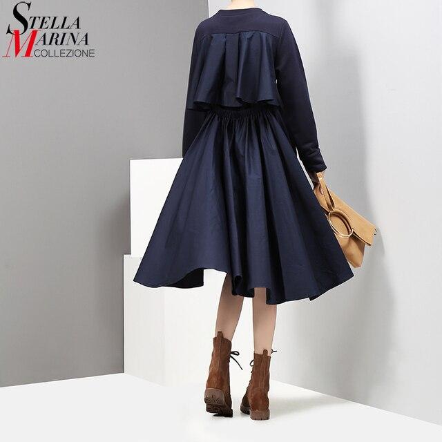 Nieuwe 2019 Herfst Mode Vrouwen Navy Stijlvolle Midi Jurk A lijn O Hals Lange Mouw Terug Plisse Lady Casual Jurken Robe femme 2917