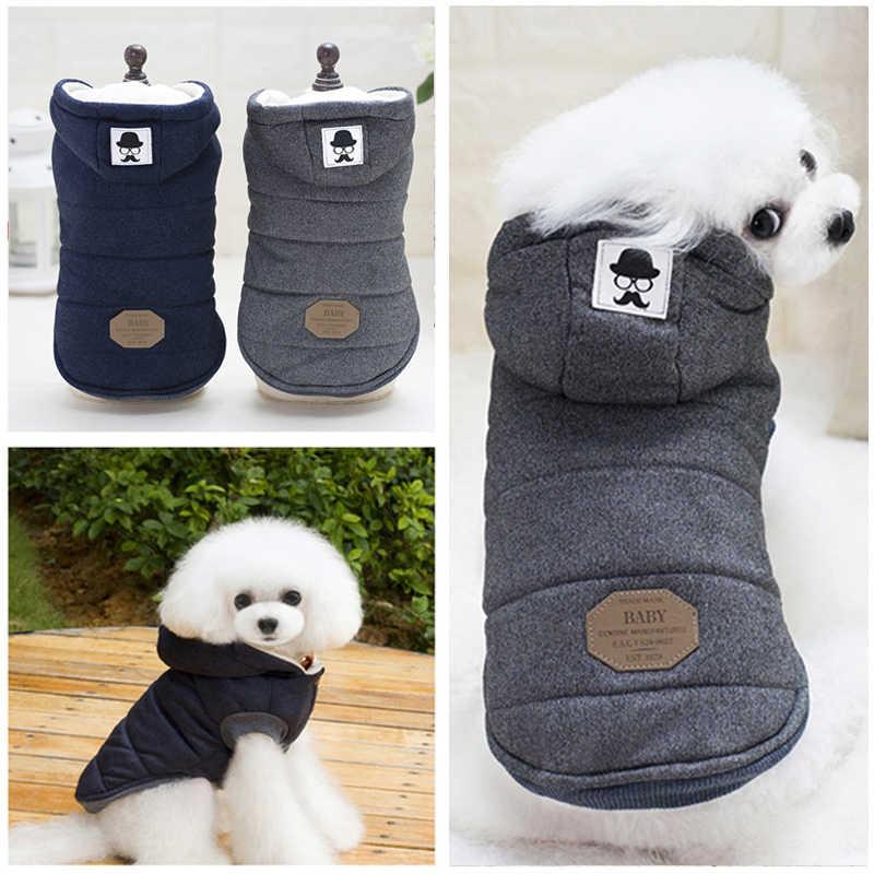 Roupa de cachorro de algodão, roupa para cachorros pequenos de inverno, quente, com capuz, casaco, chihuahua pug, filhotes e gatos, roupas de animais de estimação produtos