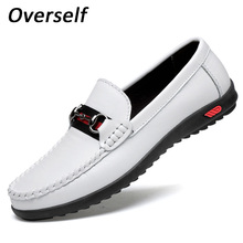 2018 Handmade White Boat Shoes For Men Genuine Leather Loafers Fashion Black Men's Casual Shoes Slip On Plus Size Zapatos Hombre