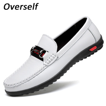 2019  White Boat Shoes For Men Genuine Leather Loafers Fashion Black Men's Casual Shoes Slip On Plus Size Zapatos Hombre summer