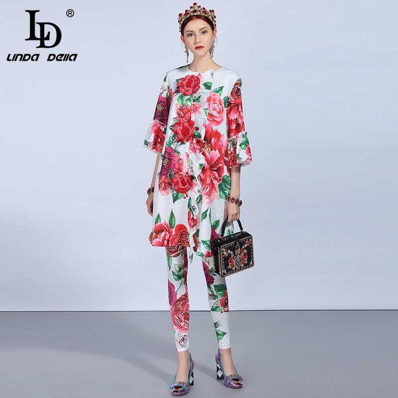 LD LINDA DELLA 2018 Autumn Fashion Runway Pants Suit Sets Women s Appliques Floral Print Long