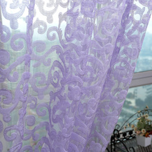 Curtains Tulle white Flowers 3d Sheer Fabrics Divider Curtain Kitchen Decorations Window Treatments Living Room Curtains