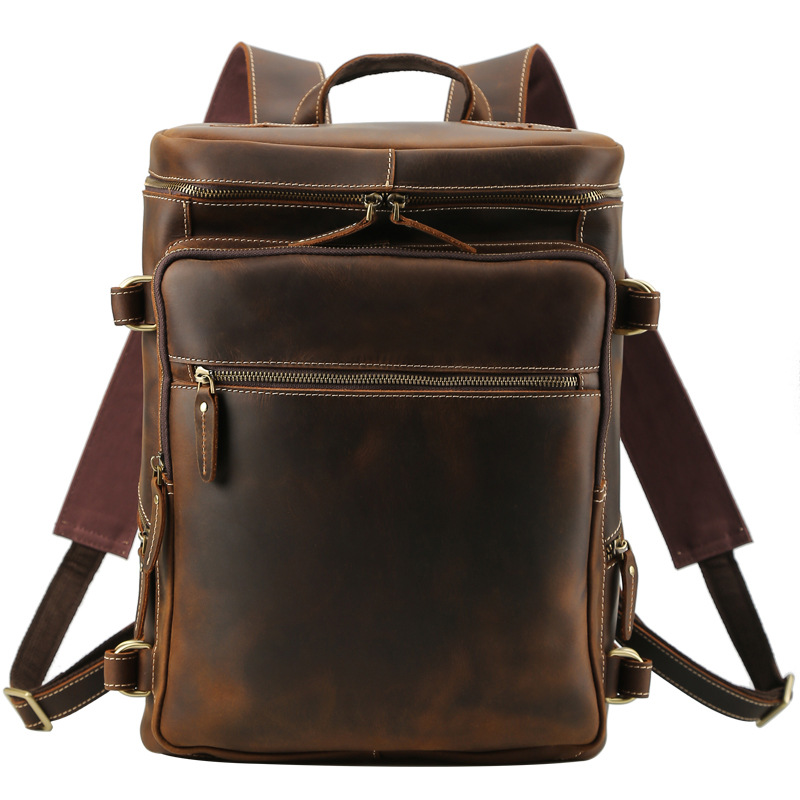 Sac à dos de Style rétro charmant sac à dos en cuir véritable pour hommes adolescents pochette d'ordinateur pour hommes