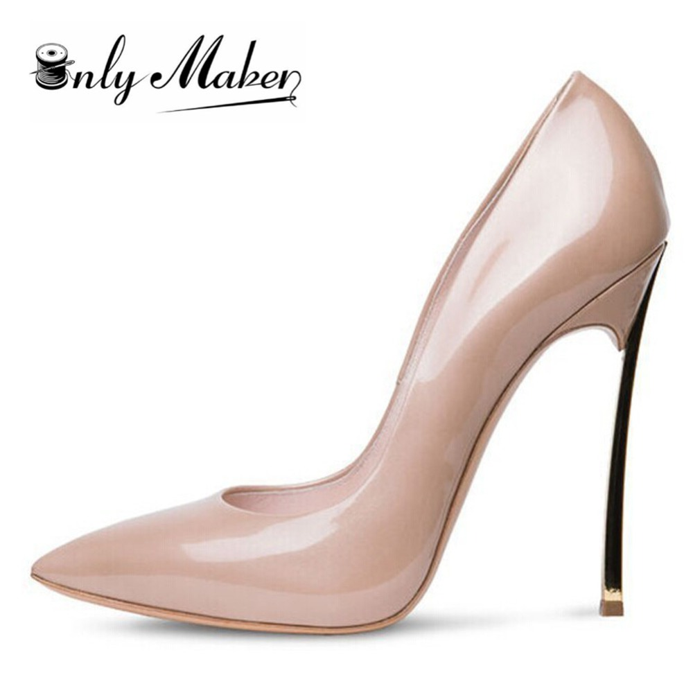 Onlymaker Women s Sexy 12CM High Steel Heel Pointed Toe Pumps Shoes For Party And Wedding