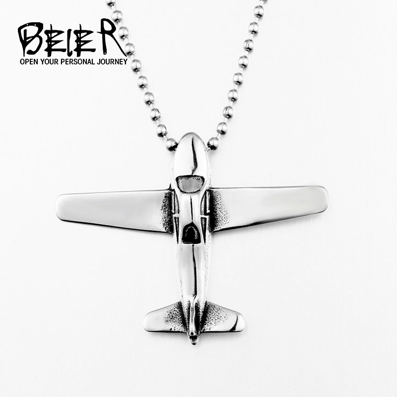 BEIER Airplane Necklaces & Pendants Silver Air Plane Pendant Aircraft Choker Necklace For Women Men Stainless steel BP8-399