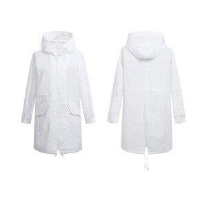 Image 3 - Xiaomi Uleemark długi biały trencz IPX5 wodoodporna odzież chroniąca przed słońcem modna bluza z kapturem wiatrówka