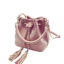 Korean Style Fashion Fringes Ornament Mini Bucket Bag Women Chic Knitting Drawstring Handbag Lady Tassel PU Small Crossbody Bag