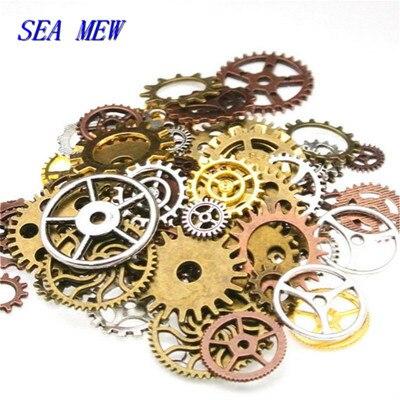 50pcs Mixed Alloy Craft Steampunk DIY Old Parts Gear Bracelet Accessories Cogs Jewelry Wheels Vintage Pendant Wrist Watch