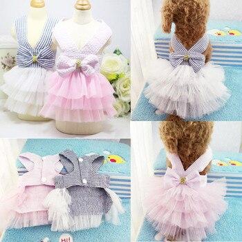 Sling Stripe Princess TUTU Dress Cat Puppy Small Girl dog Clothes Dog Dresses XS-XXL
