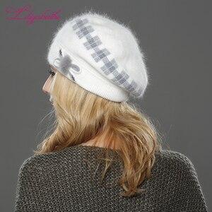 Image 3 - LILIYABAIHE w nowym stylu winteWomen beret kapelusz z dzianiny wełny angora beret klasyczna siatka z norki dekoracja kwiatowa czapka podwójna ciepła czapka