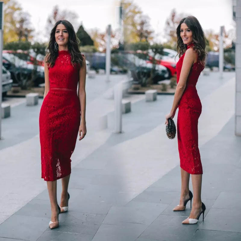 2019 New Elegant Red Lace Dress Sleeveless Bodycon Sheerness Hollow Out Maxi Long Dress for Evening Party Slim Sexy Women Dress