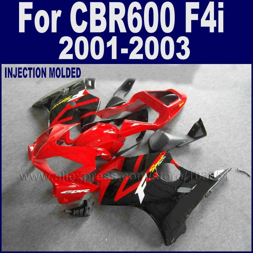 Настроить мотоцикл обтекатели впрыска комплект для Honda 2001 2002 2003 ЦБ РФ 600 F4i 01 02 03 cbr600f4i наборы красный черный обтекателя тела