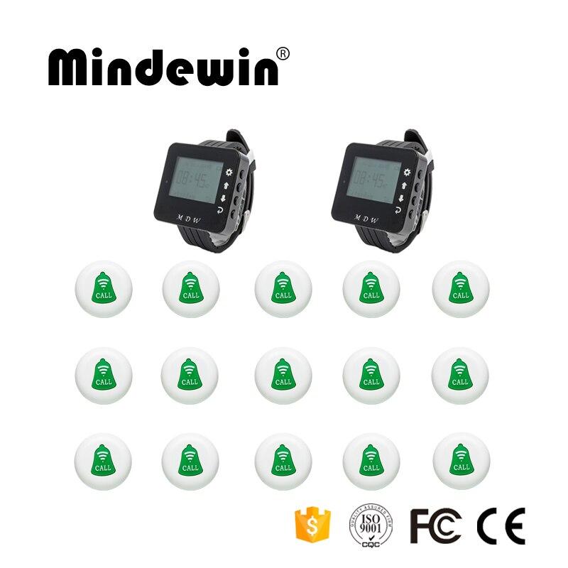 Restaurant ou café magasin système de téléavertisseur sans fil 15 pièces bouton d'appel + 2 pièces écran LED montre récepteur appelant serveur système de Service