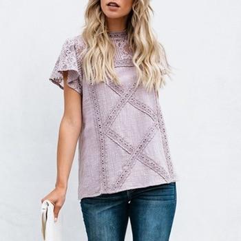 цена на Lace Floral Sleeves Slim Top Female Women Blouses Casual Fashion Wummer Short Sleeve Feminina Round Neck Elegant Hot Sale