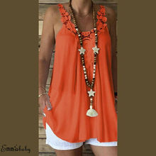 Fashion Solid Blouse Women O Neck Lace Hollow Sleeveless Casual Summer Loose Top Shirt Tunic
