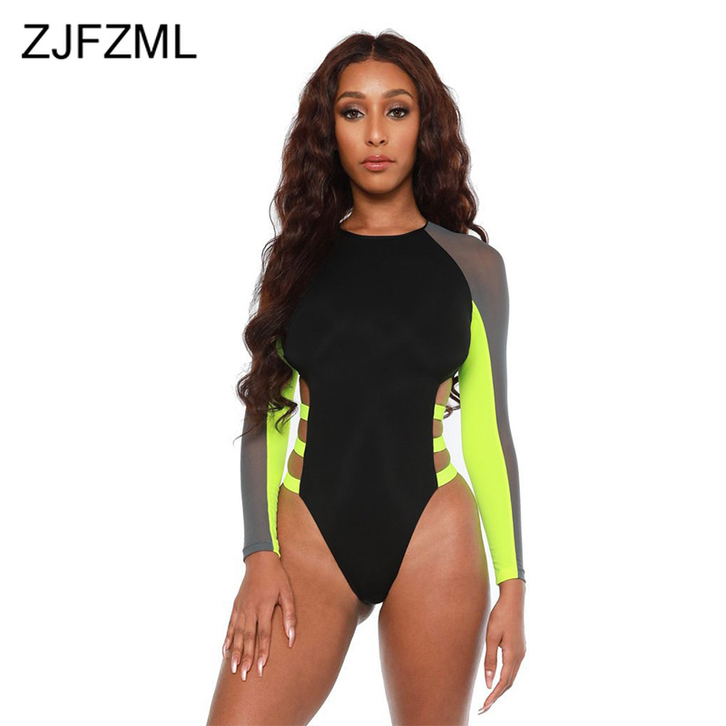 Sheer Mesh Patchwork Beach Bodysuits Women Neon Green Waist Band Cut Out Skinny   Jumpsuit   Summer Color Block Long Sleeve Overall