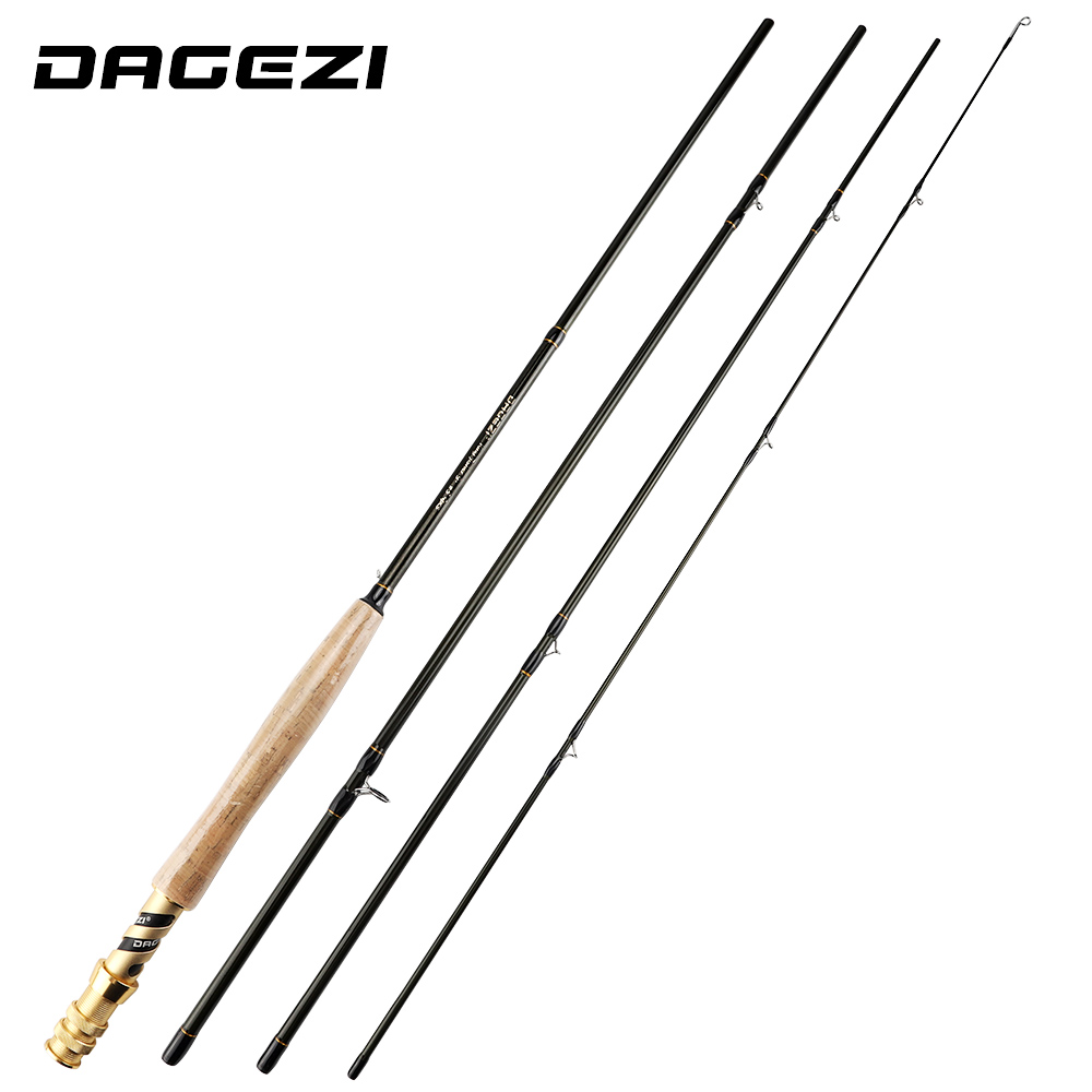 DAGEZI 2.7M Carbon Fiber Fly Fishing Rod Cork Handle 4 Sections Fly Rods Wood Reel Seat Medium Fishing Rod Fishing Tackle sougayilang 2 7m fly fishing rod with silver black reel 4 sections red carbon fiber material fly fishing set fly rod bamboo