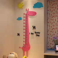 Cute Cartoon Giraffe Wall Sitcker 3D Acrylic Stickers For Kids Room Baby Growth Height Chart Wall Sticker Baby Room Decoration