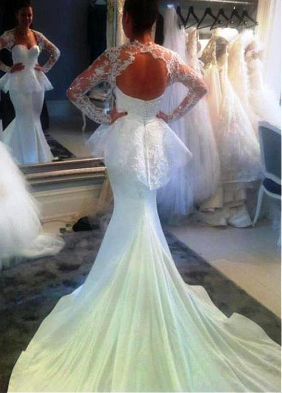 Backless Vestido De Noiva 2019 Muslim Wedding Dresses Mermaid Long Sleeves Lace Beaded Dubai Arabic Wedding Gown Bridal