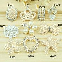 2 pcs mix flat back rhinestones button white Diamonds buttonhole diy girl hair accessory mix color Initation flower liory