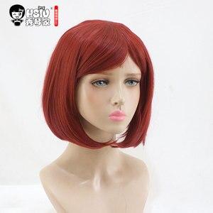 Image 2 - QC HSIU Yumeno Himiko Cosplay Wig New Danganronpa V3 Costume Play Wigs short red women wig Halloween Costumes Hair free shipping