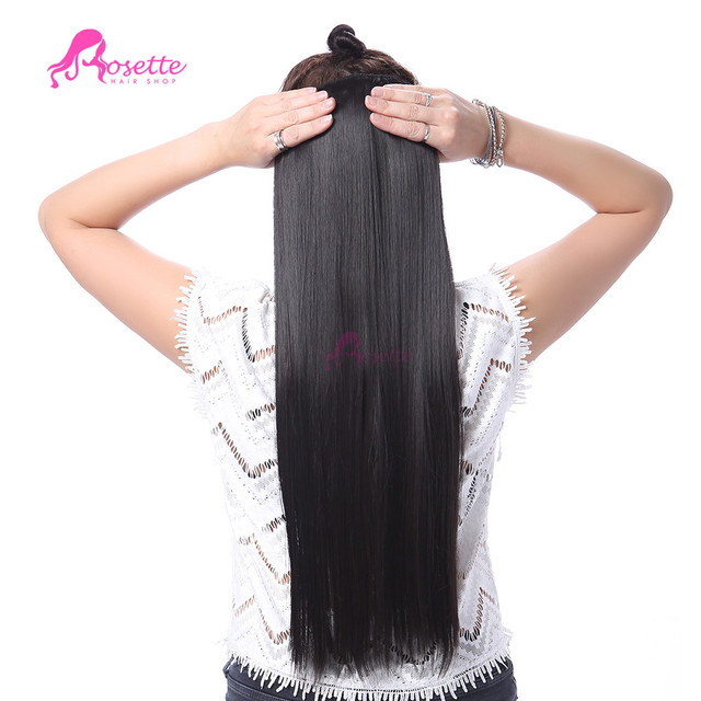 24 Inch 150g Long Straight 5Clips Heat Resistant Hair Extensions  In False Hair Pad Synthetic Hair 1 Piece For Women