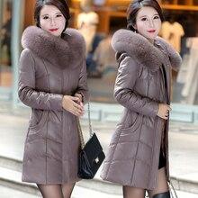 KMETRAM, настоящая кожаная куртка, зимняя куртка, женский меховой воротник, корейское длинное пальто, женский пуховик размера плюс, Chaqueta Mujer MY3415
