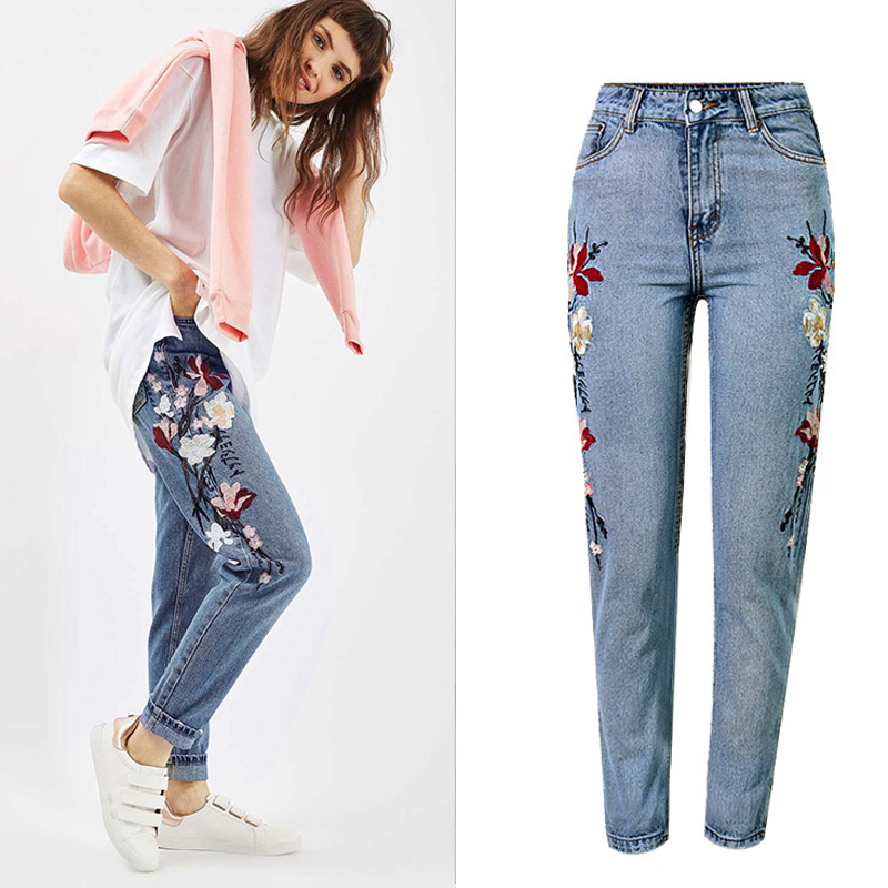 Women Jeans Straight Loose Ankle-Length Jeans Pants International Style 3D Embroidery Women Jeans High Waist Summer Style S251 inc international concepts women s drawstring pants 16w deep black