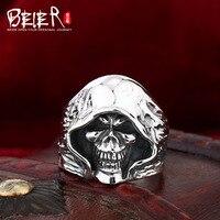Beier nieuwe winkel 100% 925 zilver sterling schedel ringen voor mannen fijne sieraden trouwringen D1272