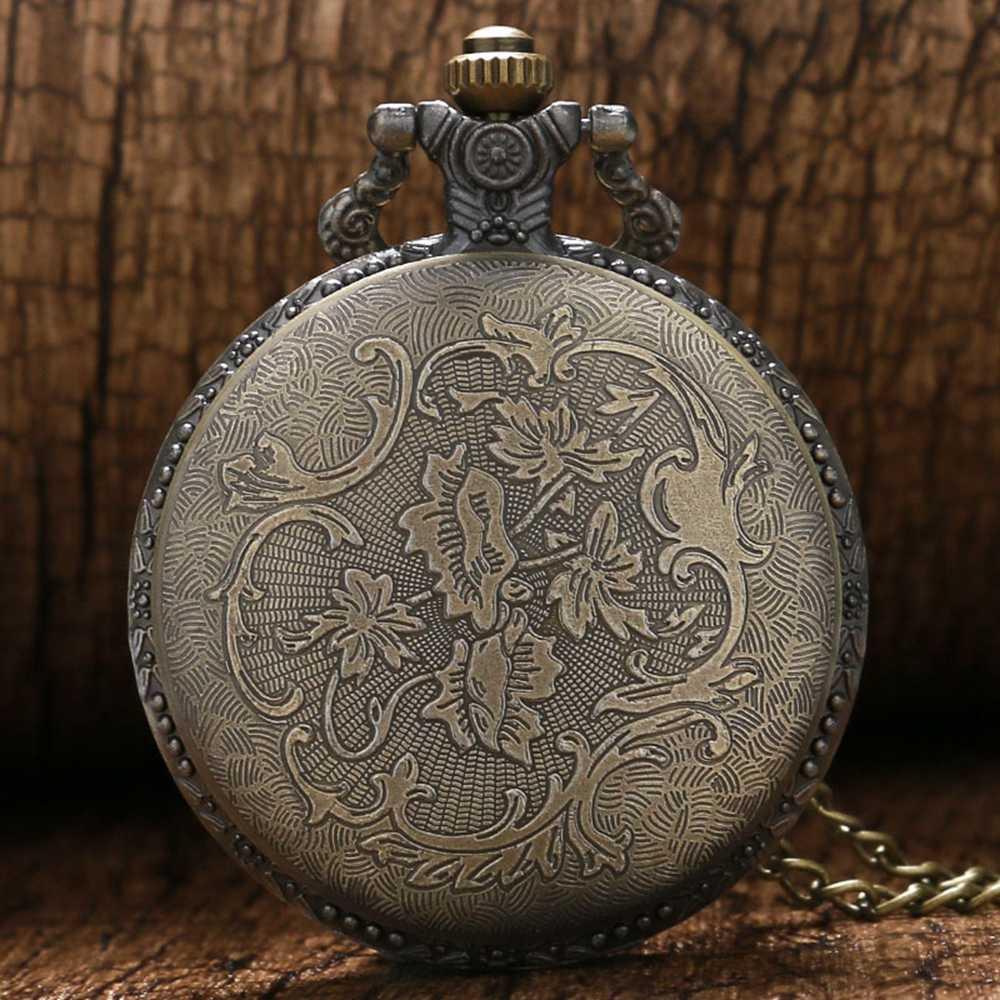 Полный Охотник Бронзовый унисекс Карманные часы мужские и женские винтажные ожерелье кулон, кварцевые часы Корабль из США мини часы подарок часы