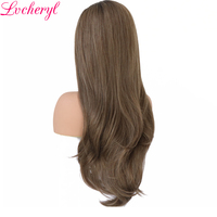 Lvcheryl New Trendy Hand Tied Dark Roots To Brown Highlight High Temperature Fiber Hair Synthetic Lace Front Wigs for Beauty