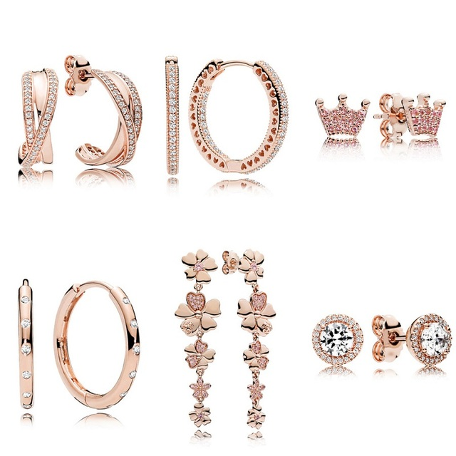 6 Style 1 Pair Women Ear Studs Rose Gold Color Crown Flower Crystal Diy Earrings High Quality Earring Women Wedding Jewelry