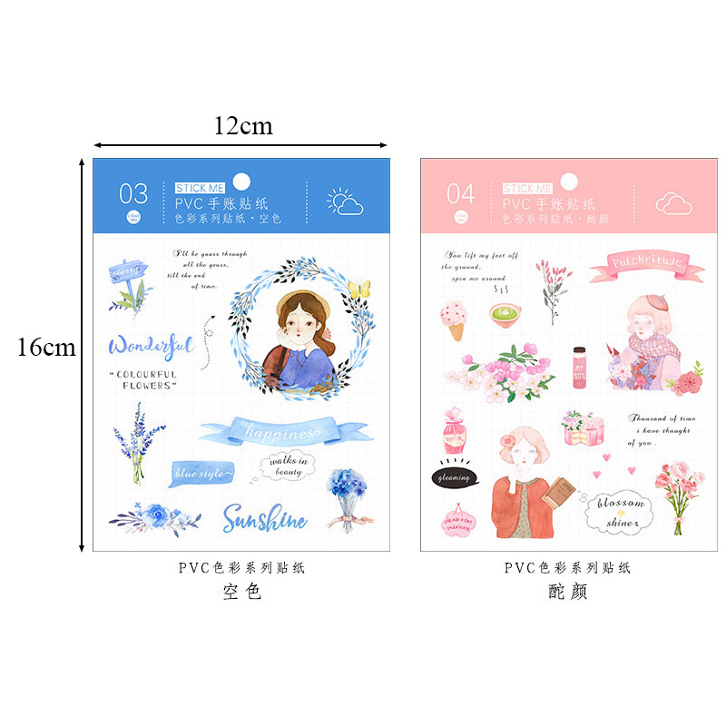 Student Cute Cartoon PVC Decoration Children Stickers For Diary Computer Iphone Scrapbooking 5663