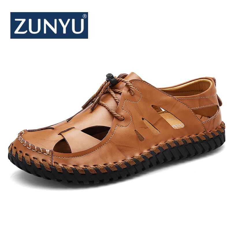 ZUNYU 2018 Summer New Genuine Leather Sandals Breathable Comfortable Men Sandals Cowhide Male Summer Shoes Outdoor Casual Shoes
