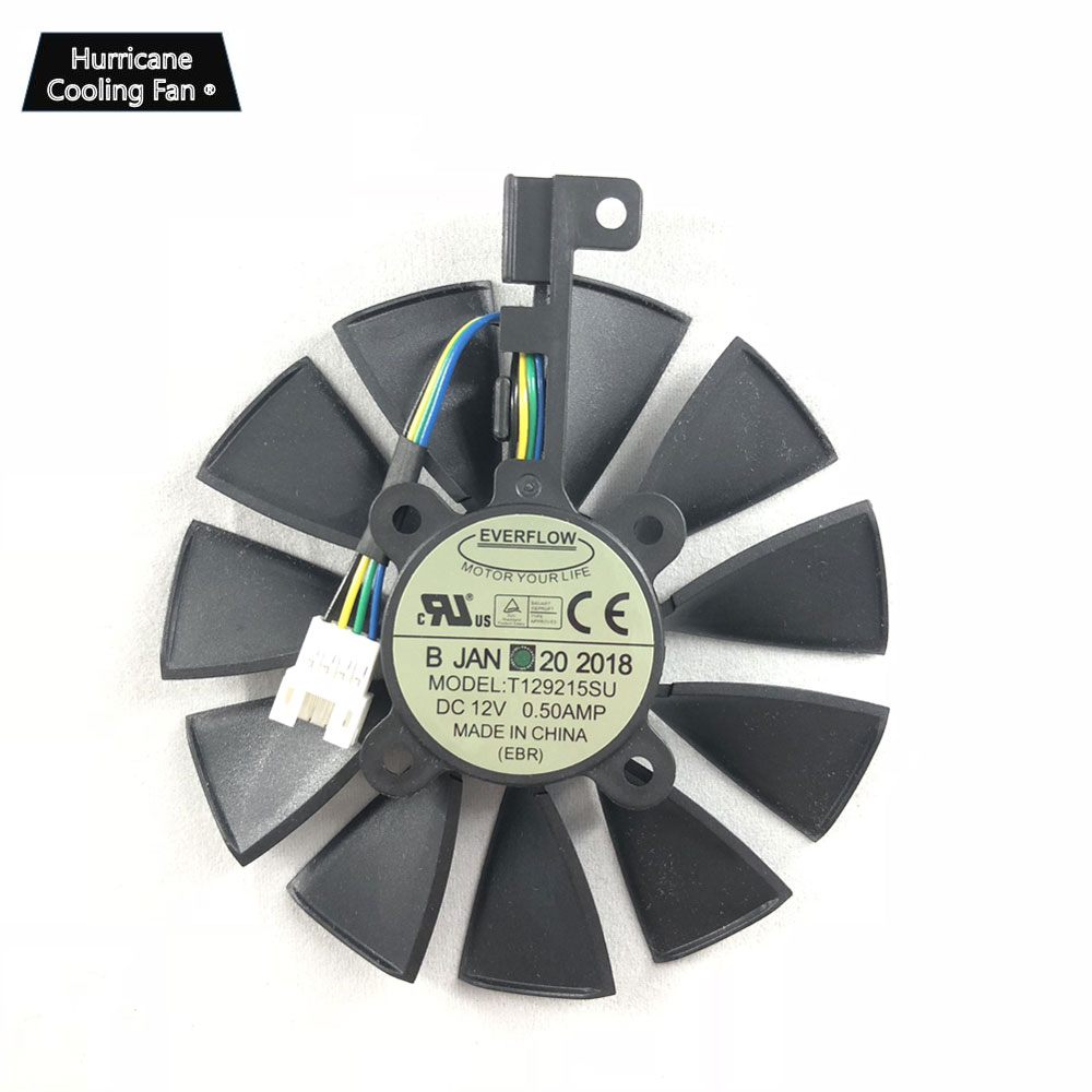 Image 2 - New 87MM Everflow T129215SU DC 12V 0.5AMP 4Pin 4 Wire Cooling Fan for ASUS GTX980Ti R9 390X 390 GTX1070 Graphics Card Fan-in Fans & Cooling from Computer & Office