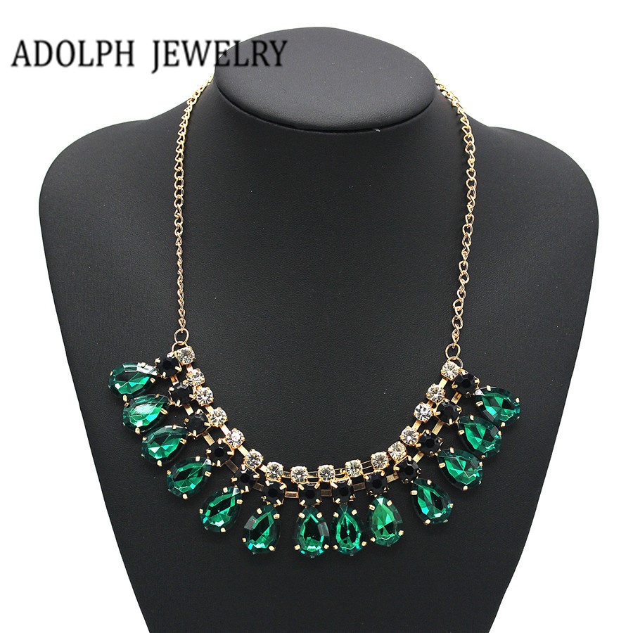 Adolph Schmuck 2014 Neue Mode Edelstein Erklärung Goldfarbe Halsketten & Anhänger Großhandel Choker Halsketten Für Frauen Weich Und Rutschhemmend
