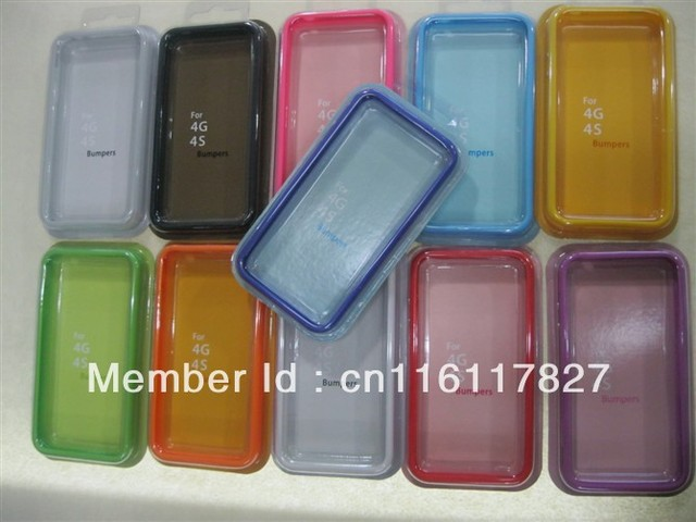 TPU Bumper Frame With Metal Button Cases Cover for Apple iphone 4 4S 4G colorful candy rainbow case with retail package