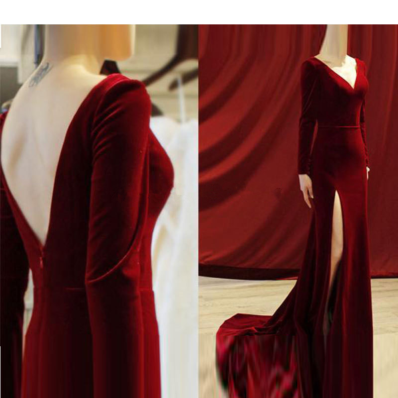 Burgundy Muslim   Evening     Dresses   2019 Mermaid V-neck Long Sleeves Velvet Islamic Dubai Saudi Arabic Long Elegant   Evening   Gown