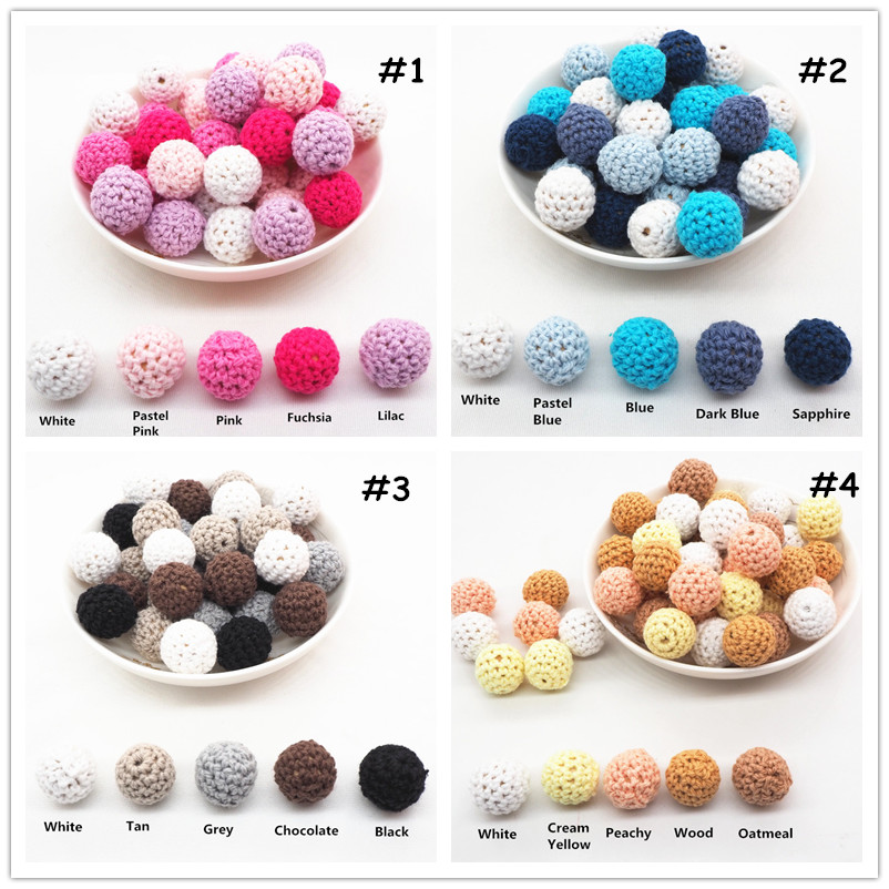 Chenkai 10pcs 16mm 20mm Round Knitting Cotton Crochet Wooden Beads Balls for DIY decoration baby teether jewelry necklace Toy