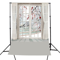 5x7FT Window Plum Blossom Room Theme Photography Background For Studio Photo Props Photographic Backdrops Cloth 1