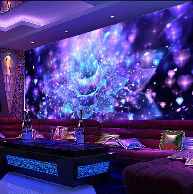 wall karaoke club murals ktv bar 3d psychedelic flower custom ballroom decor graphic walls night colorful jb mural idcwp dazzling