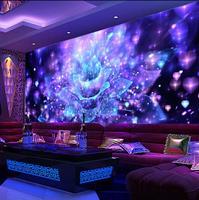Personalizado 3D Grandes Murais de parede para Bar KTV Karaoke Salão Abstrato Colorido Deslumbrante Luz Da Foto Da Flor Papel De Parede para Paredes