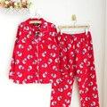 Boneco de neve vermelho menina dos desenhos animados meninas 100% algodão solto confortável pijama leisurewear terno