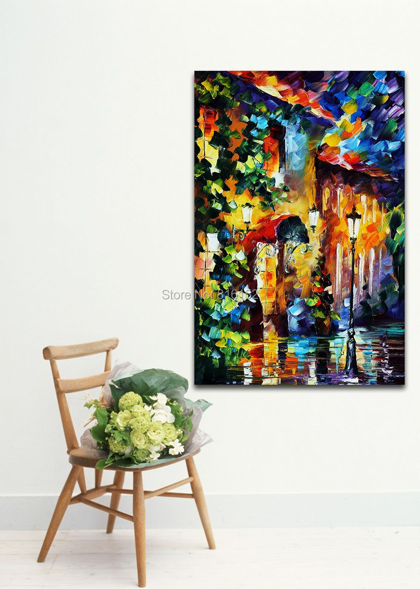Attractive palette knife oil painting night street scene attractive palette knife oil painting night street scene architecture picture printed on canvas for home living wall decor in painting calligraphy from amipublicfo Choice Image
