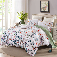 100 Cotton Pastoral Flowers And Plants Leaf Pattern Cartoon Cat Duvet Cover Bed Sheet Set Reactive