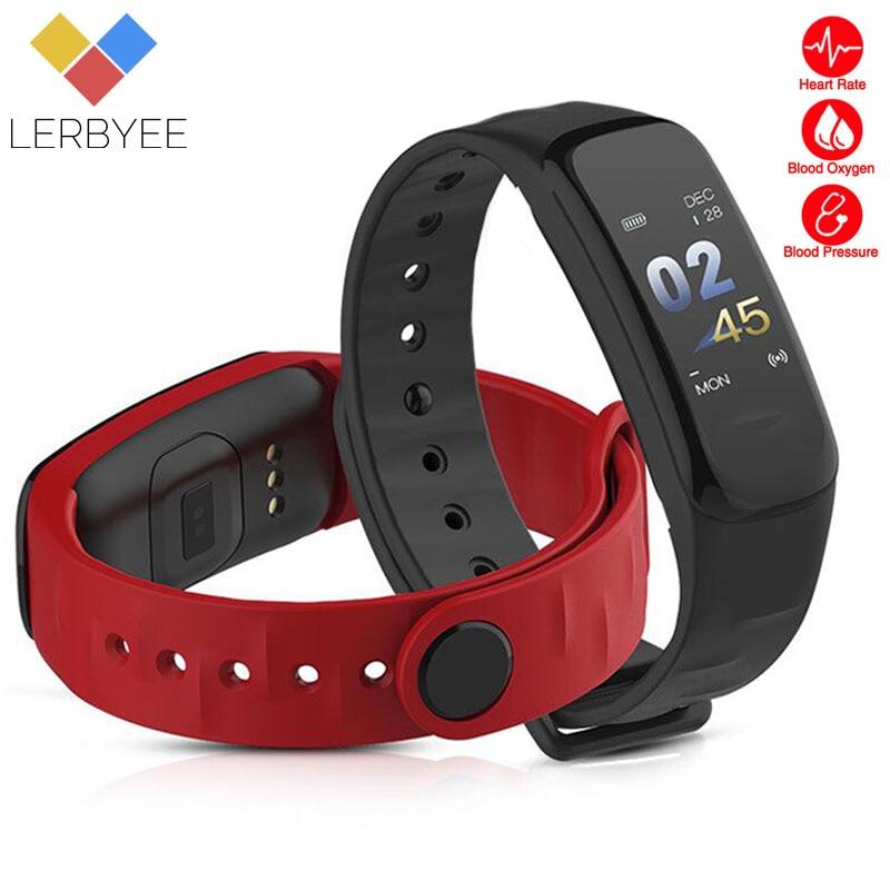 Lerbyee C1Plus Bande À Puce Sang Pression Fitness Tracker Moniteur de Fréquence Cardiaque Smart Bracelet Noir Hommes Montre pour Sport Escalade