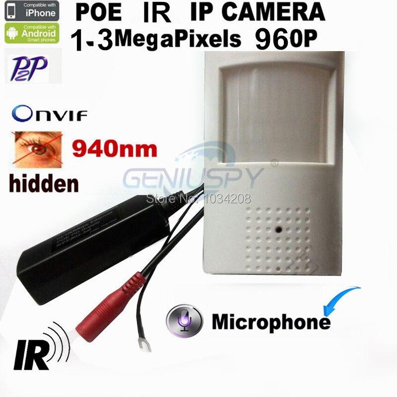 1.3MP 960 P Poe Ip Камера Poe 940Nm Инфракрасный Ip CamIR POE PIR Стиль детектор движения ONVIF P2P ИК- ночное видение Plug and Play