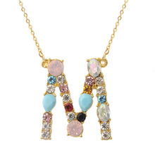 Exknl Multicolor fashion charm Gold 26 Alphabet pendant necklace micro pave zircon initial letter necklaces Couple Name